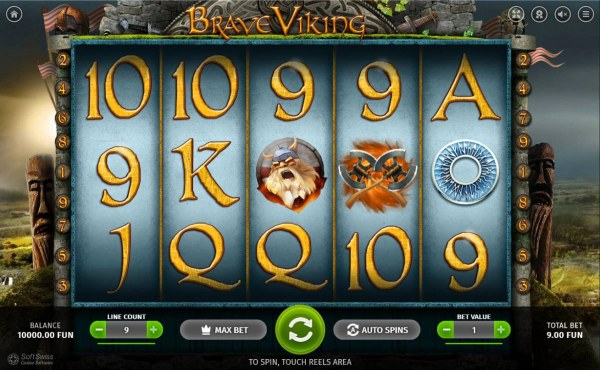Main game board featuring five reels and 9 paylines with a $6,000 max payout. - Casino Codes