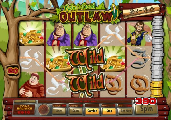 A pair of wild symbols leads to a 390 coin win triggered by two win lines. - Casino Codes