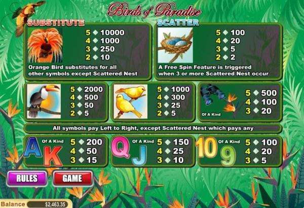 Birds of Paradise screenshot