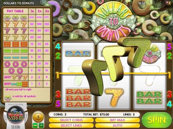 Casino Codes - Triple 7s triggers a 525.00 big win.