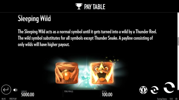 The Sleeping Wild acts as a notmal symbol until it gets turned into a wild by a Thunder Reel. The wild symbol sunstitutes for all symbols except Thunder Snake. A payline consisting of only wilds will have a higher payout. - Casino Codes