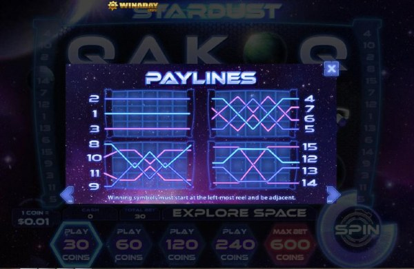 Casino Codes - Payline Diagrams
