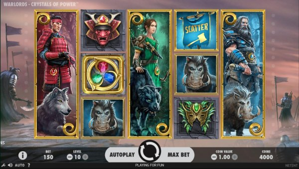Casino Codes - A warload themed main game board featuring five reels and 30 paylines with a $1,000,000 max payout
