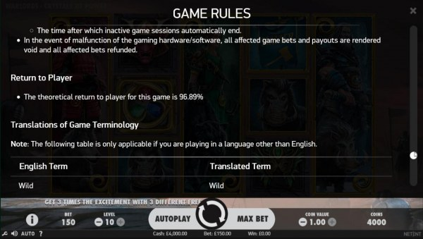 The theoretical return to player (RTP) for this game is 96.89% - Casino Codes
