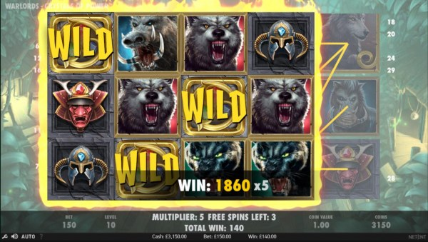A super big win triggered by multiple winning paylines, 1860 x5. by Casino Codes