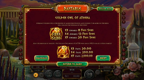 The Golden Owl of Athena by Casino Codes