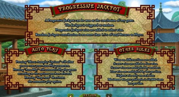 Casino Codes - A progressive jackpot can be won at the conclusion of any game. The jackpot is triggered at random. Progressive jackpot wins are added to other wins. Random jackpot contribution is no more than 1.5% of total return to player. Maximum win pe