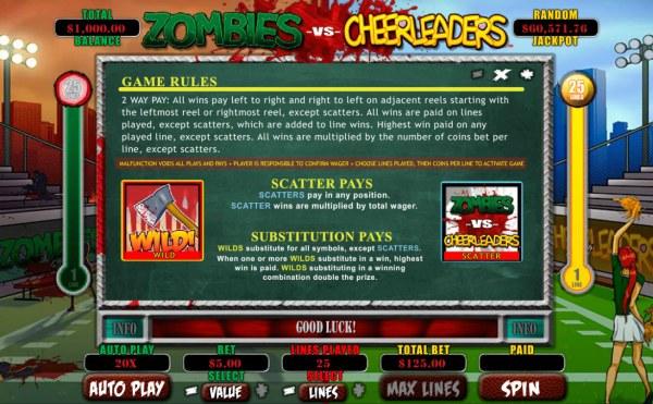 Casino Codes image of Zombies vs Cheerleaders