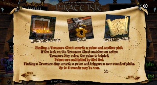 Casino Codes - Finding a treasure chest awards a prize and another pick. If the lock on the treasure Chest matches an active Treasure Key color, the prize is tripled. Finding a Treasure Map awards a prize and triggers a new round of picks. Up to 5 rounds