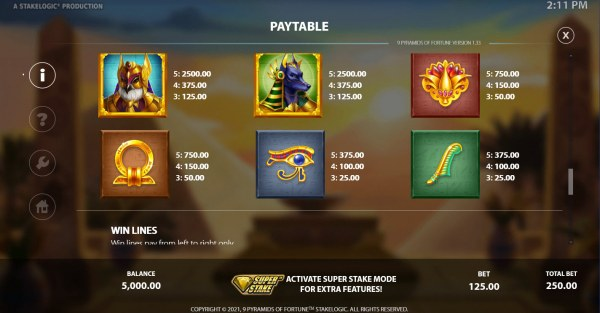9 Pyramids of Fortune by Casino Codes