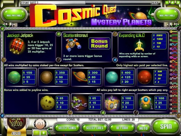 Casino Codes image of Cosmic Quest Mystery Planets