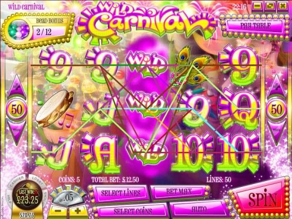 Casino Codes - multiple winning paylines triggers a $23.50 jackpot