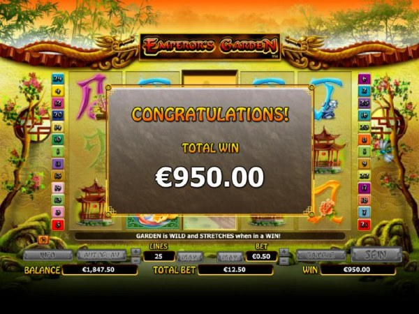 a $950 total paid out for the free games feature by Casino Codes