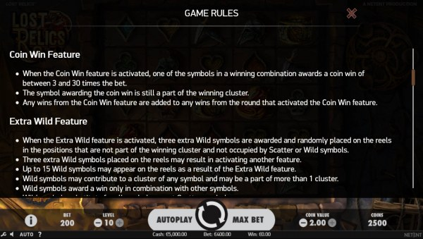 Feature Rules by Casino Codes