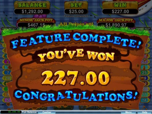 Casino Codes - Free Games Feature pays out a $227 big win.