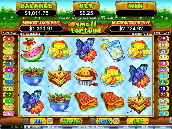Casino Codes - A picnic themed main game board featuring five reels and 25 paylines with a $250,000 max payout
