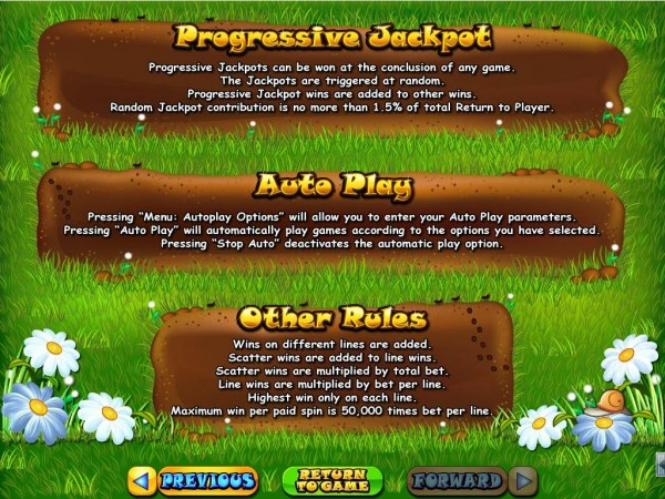 Progressive Jackpots can be won at the conclusion fo any game. Jackpots are triggered at random. Maximum win per paid spin is 50,000 times bet per line. - Casino Codes