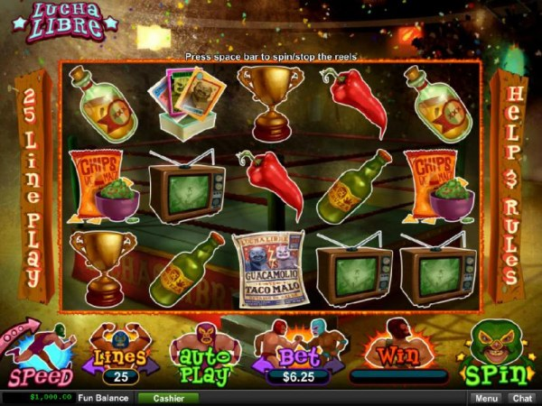 Casino Codes - Main game board featuring five reels and 25 paylines with a $10,000 max payout