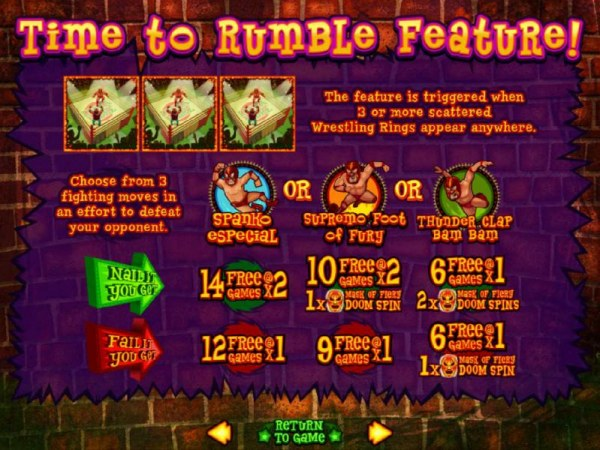 Time to Rumble Feature - The Feature is triggered when 3 or more scattered Wresting Rings appear anywhere by Casino Codes