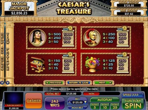 Casino Codes image of Caesar's Treasure
