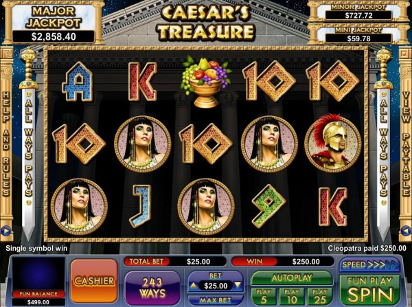 A Cleopatra four of a kind triggers a 250.00 jackpot - Casino Codes