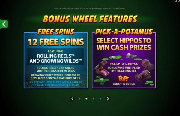 Bonus Wheel features - Free Spins and Pick-A-Potamus - Casino Codes
