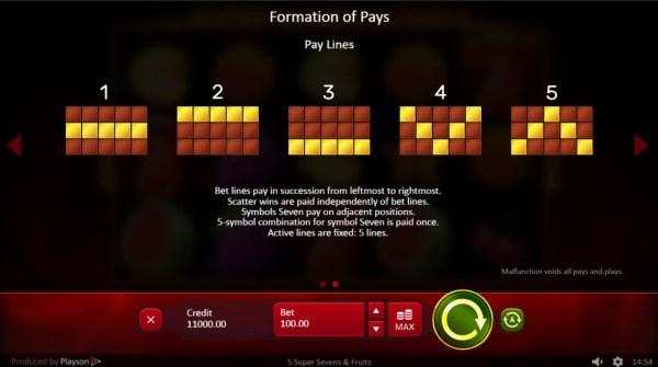 Paylines 1-5 - Casino Codes