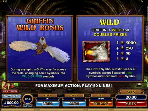 Casino Codes - griffin wild bonus and wild rules and paytable