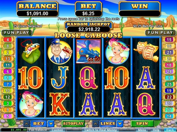 A train themed main game board featuring five reels and 25 paylines with a $250,000 max payout by Casino Codes