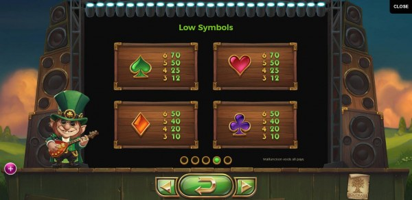 Low value game symbols paytable - Casino Codes