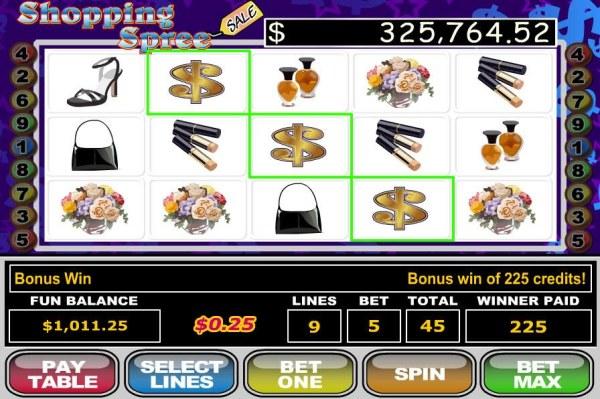 Three Dollar Sign symbols triggers a 225 coin payout. - Casino Codes