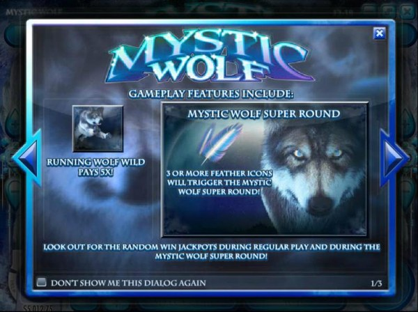 Game play fetaures include Running Wold Wild Pays 5x and Mystic Wolf Super Round - Casino Codes