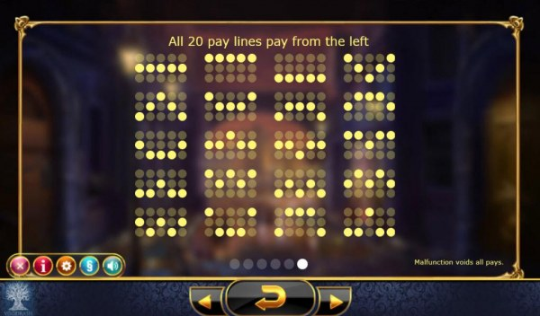 Casino Codes - Payline Diagrams 1-20. All 20 pay lines pay from the left.