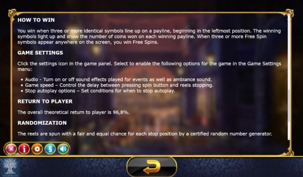 The overal theoretical return to player is 96.8% - Casino Codes