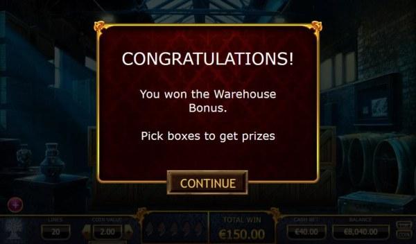 Warehouse Bonus Game feature awarded - Casino Codes