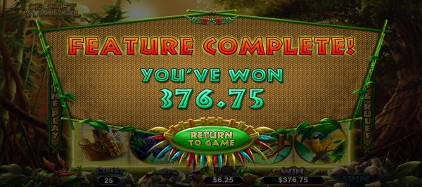 Player is awarded a 376.75 cash prize after completing 10 free spins. - Casino Codes