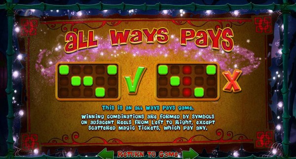 All Ways Pays - The is an All Wyas Pay game. Winning combinations are formed by symbols on adjacent reels from left to right, except scattered magic tickets, which pay any. by Casino Codes