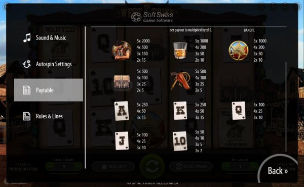 Casino Codes - Low value game symbols paytable.