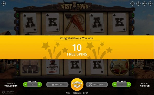 Casino Codes - 10 free spins awarded.