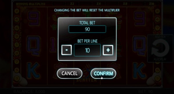 Casino Codes - The bet range for this game is 0.01 up to 10.00 per line.