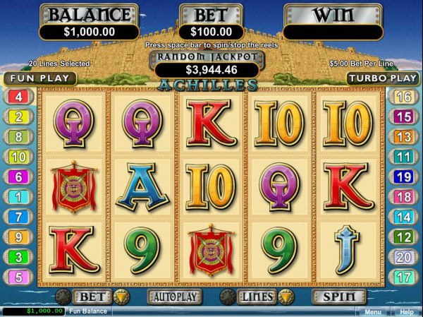 A Greek mytholigy themed main game board featuring five reels and 20 paylines with a $250,000 max payout by Casino Codes