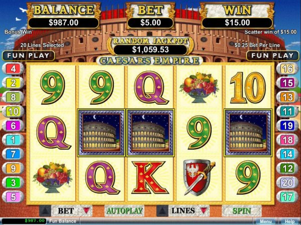 Three Coliseum scatter symbols triggers a 15.00 payout. by Casino Codes