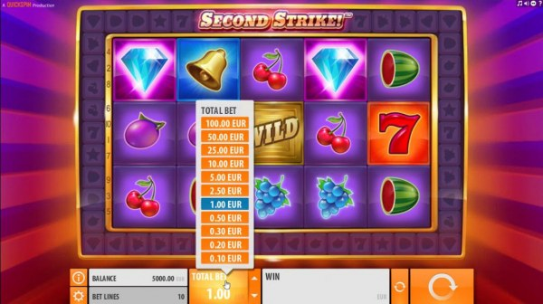 Casino Codes - Click the arrow on the TOTAL BET button to adjust the coin size played per line.