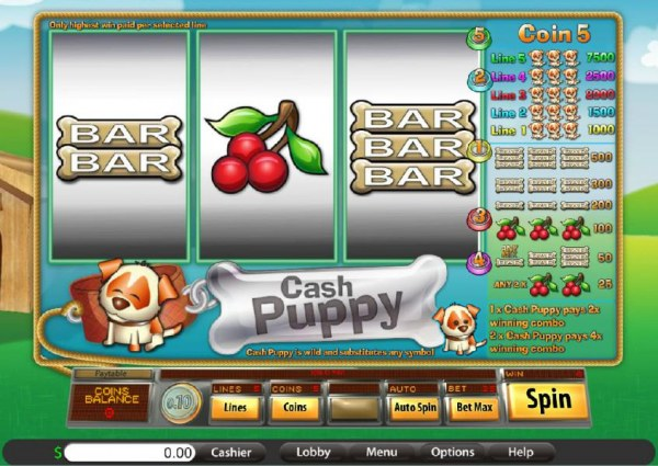 main game board featuring three reels and a single payline - Casino Codes