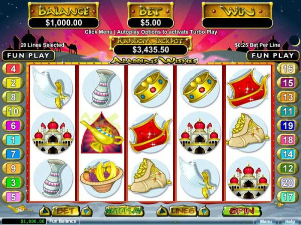 An Arabian fairy tale themed main game board featuring five reels and 20 paylines with a $12,500 max payout by Casino Codes