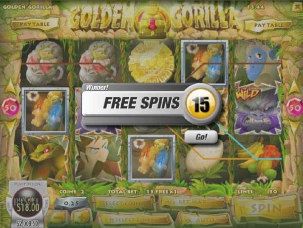 Three gold gorilla icons awards 15 free spins. - Casino Codes