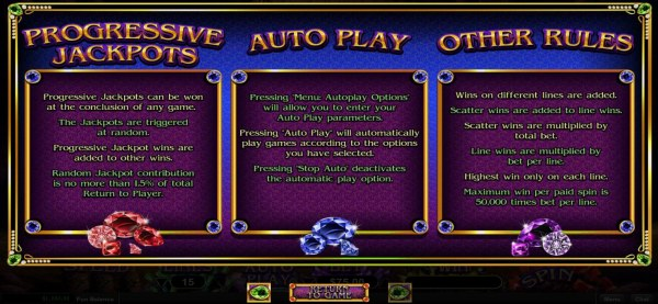 Casino Codes - Progressive Jackpot and General Game Rules