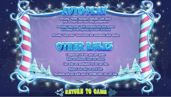 General Game Rules - Maximum win per paid spin is 50,000 times bet per line. - Casino Codes