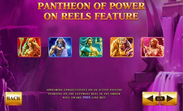 Pantheon of Power on reels feature - Appearing consecutively on an active payline starting on the leftmost reel in any order will award 200x line bet! by Casino Codes