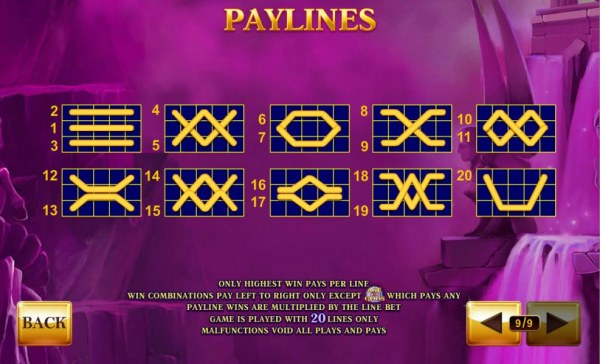 Payline Diagrams 1-20. Only highest win pays per line. - Casino Codes